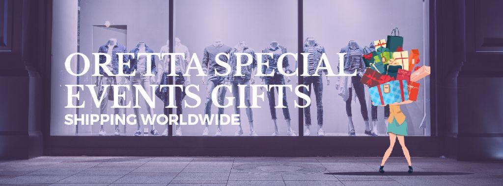 Woman holding huge stack of gifts — ein Design erstellen