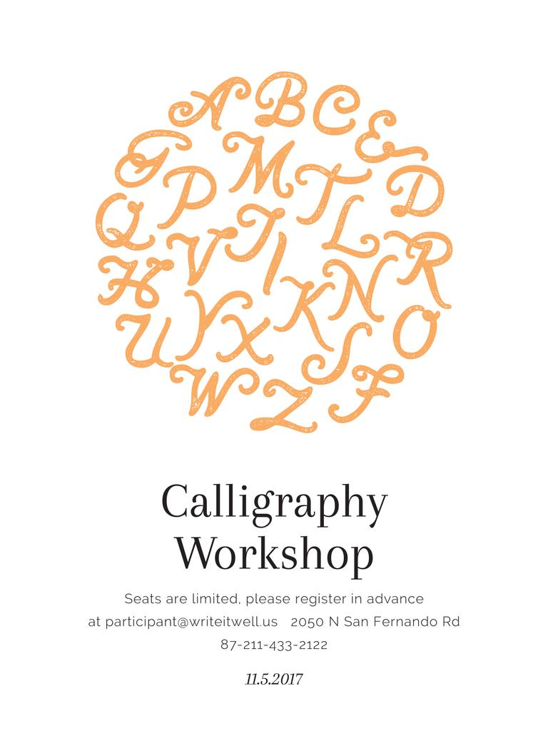 Calligraphy Workshop Announcement Letters on White — Créer un visuel