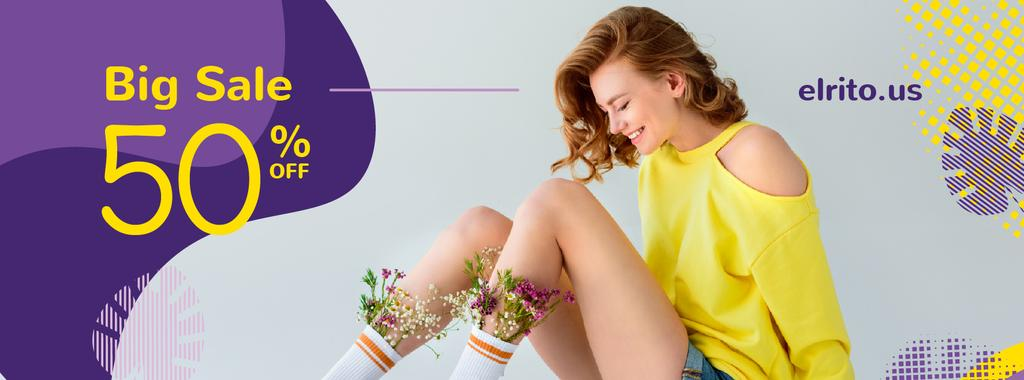 Shop Sale with Girl with Flowers in socks — Crea un design