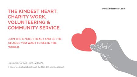 Ontwerpsjabloon van FB event cover van Charity event Hand holding Heart in Red
