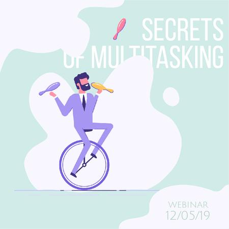 Businessman juggling on unicycle Animated Postデザインテンプレート