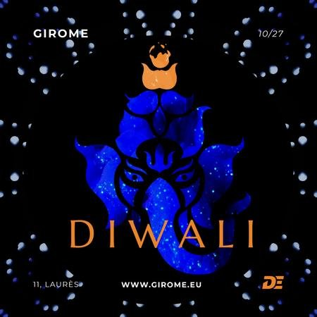 Happy Diwali Greeting with Elephant in Blue Animated Post Modelo de Design