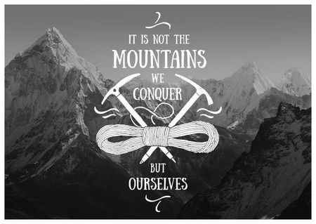 Plantilla de diseño de Motivational quote with Snowy Mountains Postcard