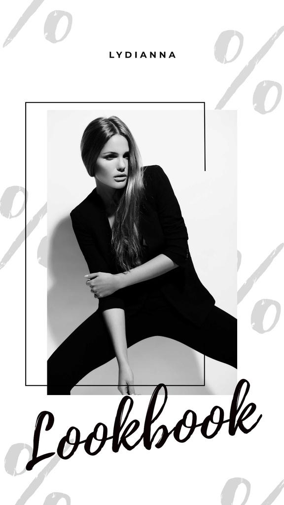 Woman in Black Outfit on White — Modelo de projeto