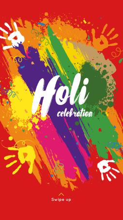 Indian Holi festival celebration Instagram Story Design Template