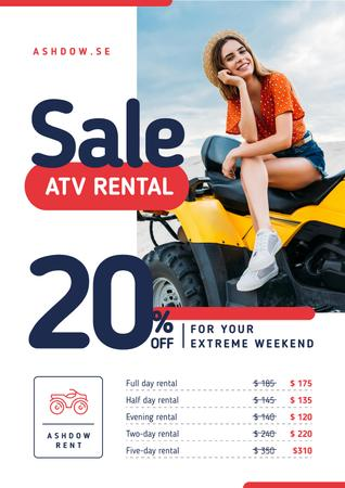 ATV Rental Services with Girl on Four-track Poster Modelo de Design