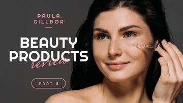 Beauty Blog Ad Woman Applying Serum