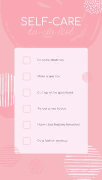 Self-care To-do list in with check-boxes Pink