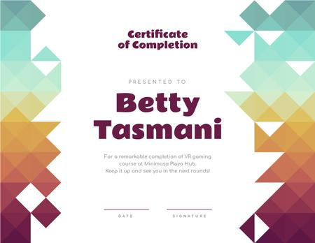 Template di design VR game Course Completion confirmation Certificate