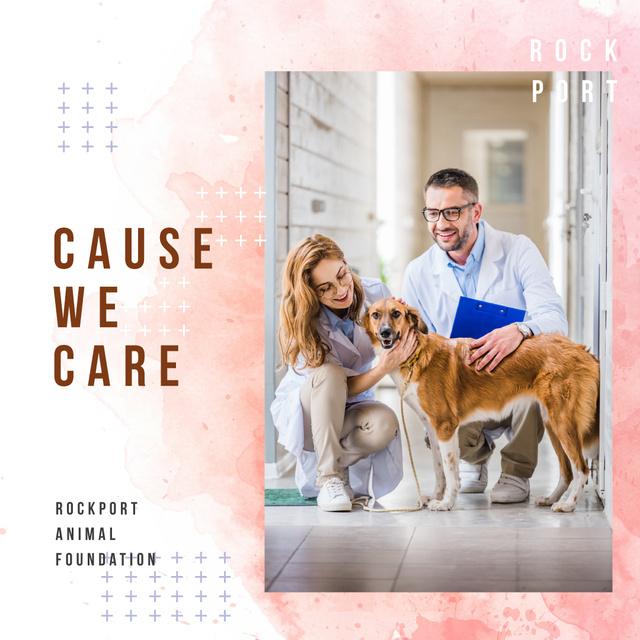 Vet taking care of Dog in Clinic Instagram AD Modelo de Design