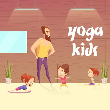 Kids doing yoga with coach Animated Postデザインテンプレート