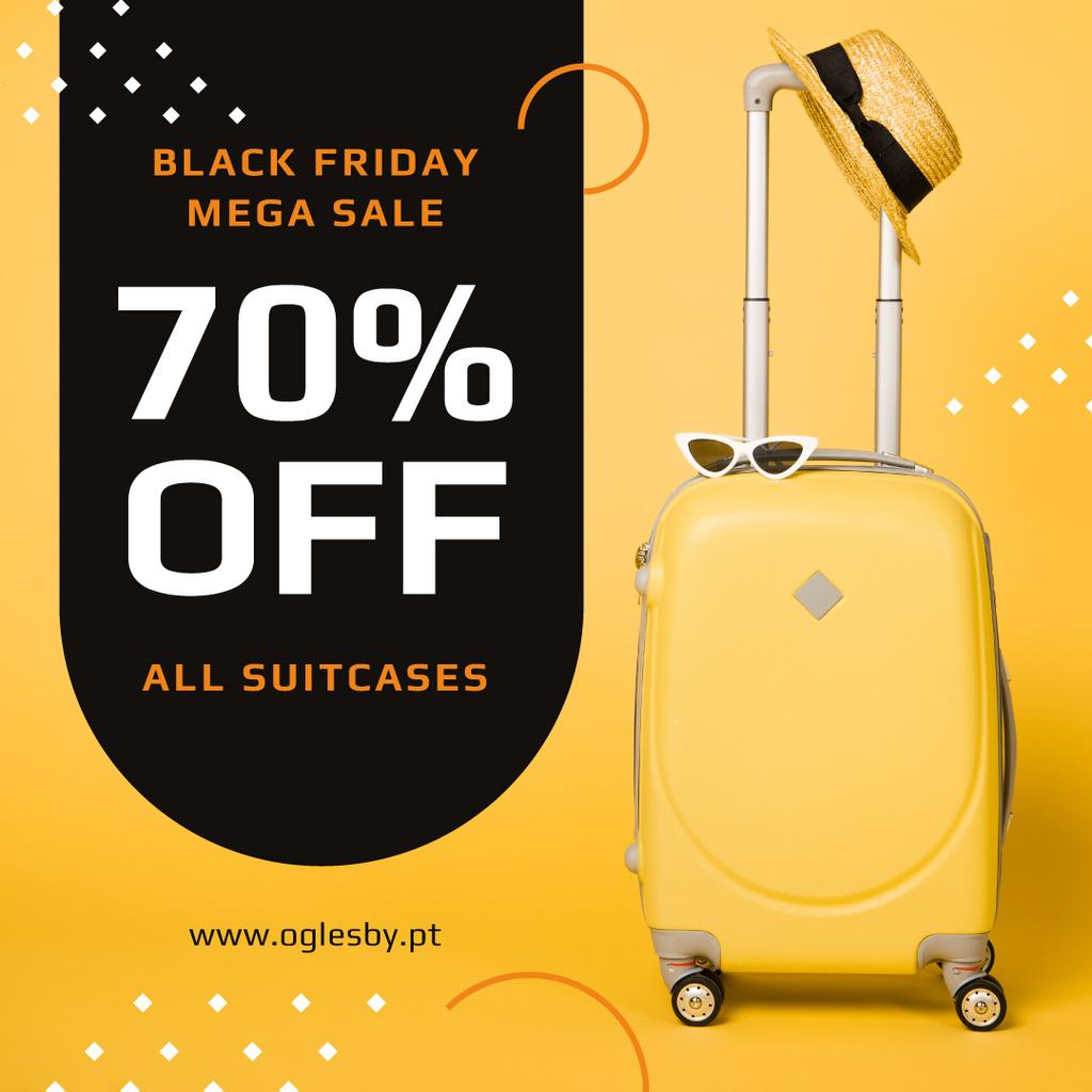 Black Friday Sale Suitcase in Yellow — Crear un diseño