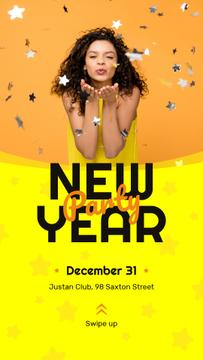New Year Party Invitation Girl Blowing Confetti | Stories Template
