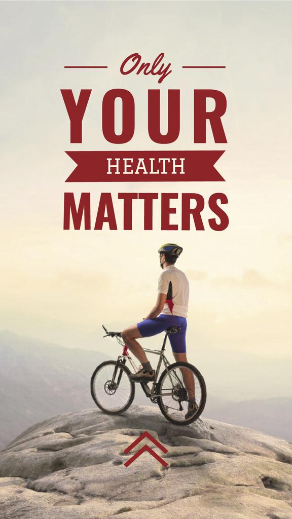 Cyclist admiring Mountains view — Создать дизайн