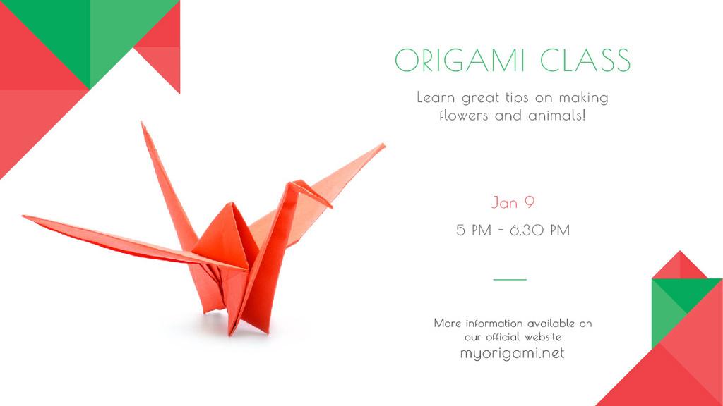 Origami Classes Invitation Paper Bird in Red Title Modelo de Design