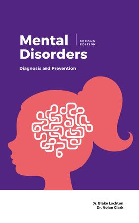 Ontwerpsjabloon van Book Cover van Mental Disorders Head Silhouette with Network