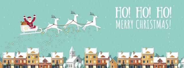 Plantilla de diseño de Santa riding in sleigh over town Facebook Video cover