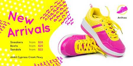 Sport Shoes Sale with Sneakers in Pink and Yellow Twitter Tasarım Şablonu