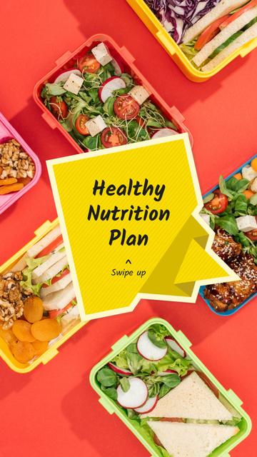 Nutrition Plan menu with Healthy Food Instagram Story Tasarım Şablonu