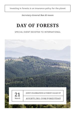 Plantilla de diseño de International Day of Forests Event with Scenic Mountains Pinterest