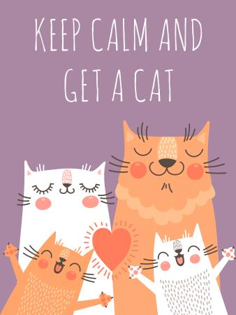Ontwerpsjabloon van Poster US van Adoption inspiration Funny Cat family