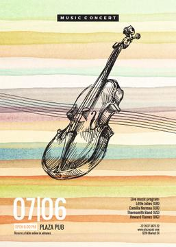 Classical music event poster with violin