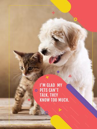 Pets clinic ad with Cute Dog and Cat Poster US – шаблон для дизайна