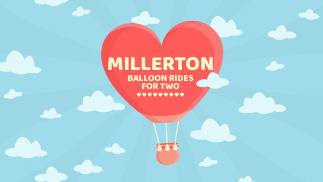 Valentine's Day Heart-Shaped Balloon in sky Full HD video Modelo de Design