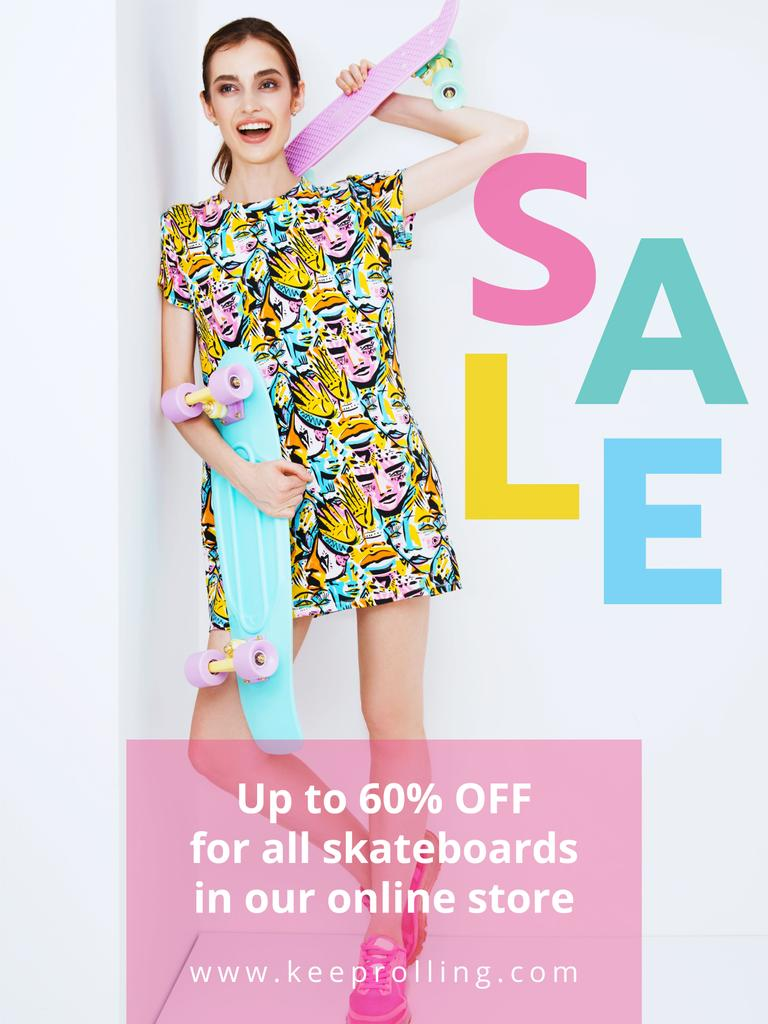 Sports Equipment Ad Girl with Bright Skateboard — Створити дизайн