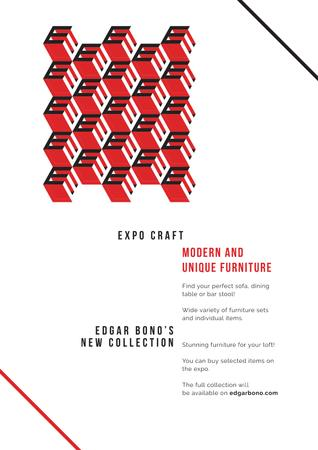 Furniture collection with geometric figures Poster – шаблон для дизайну