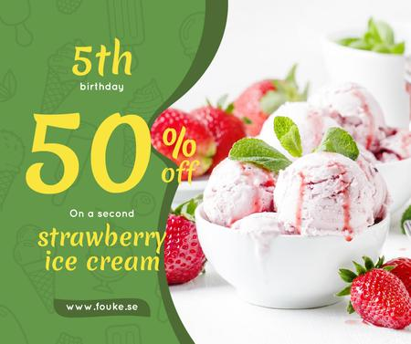 Template di design Anniversary Promotion Strawberry Ice Cream Scoops Facebook