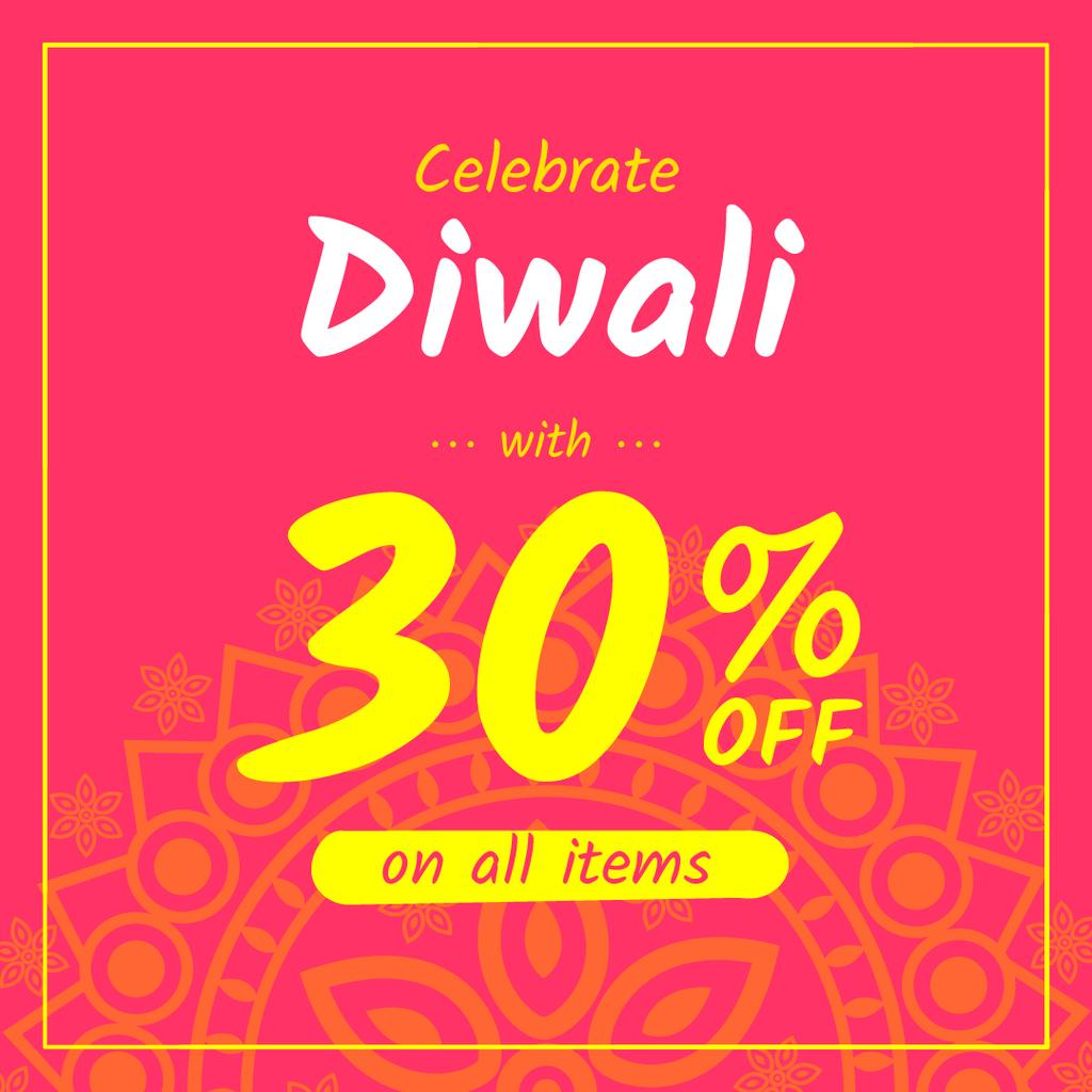 Happy Diwali Offer Mandala in Pink | Instagram Post Template — Maak een ontwerp