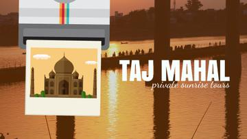 Travelling Tour Ad Taj Mahal Building