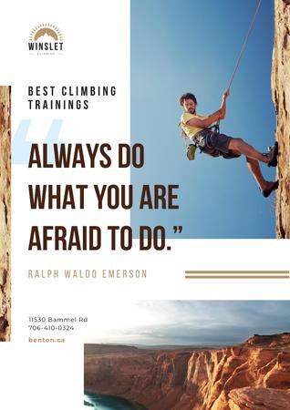 Template di design Climbing Courses Offer with Man on Rock Wall Poster