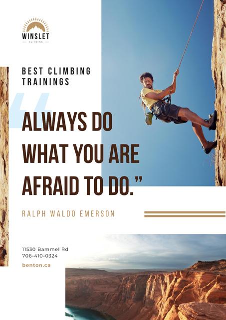Plantilla de diseño de Climbing Courses Offer with Man on Rock Wall Poster