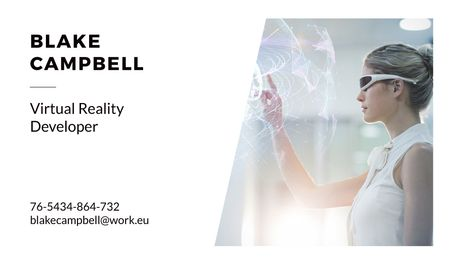Plantilla de diseño de Virtual Reality Developer with Woman in Vr Glasses Business card