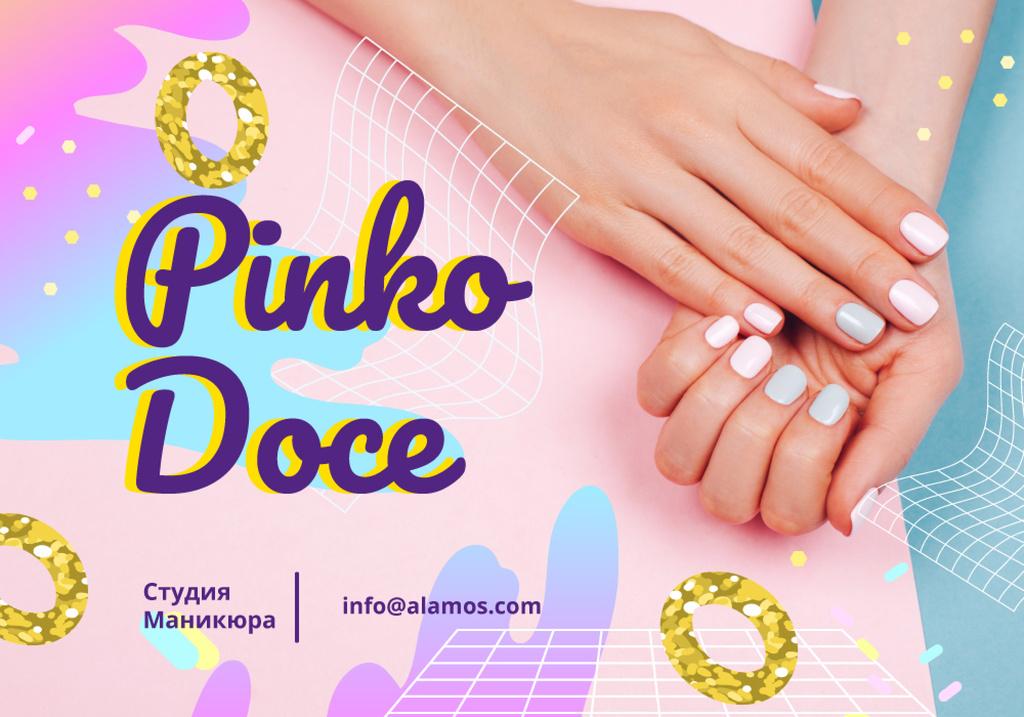 Manicure Salon Ad Female Hands with Pastel Nails — Crear un diseño