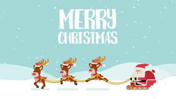 Christmas Greeting Santa Riding in Sleigh