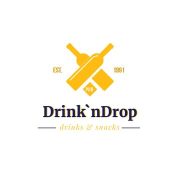 Pub Ad with Drink Bottles Icon in Yellow