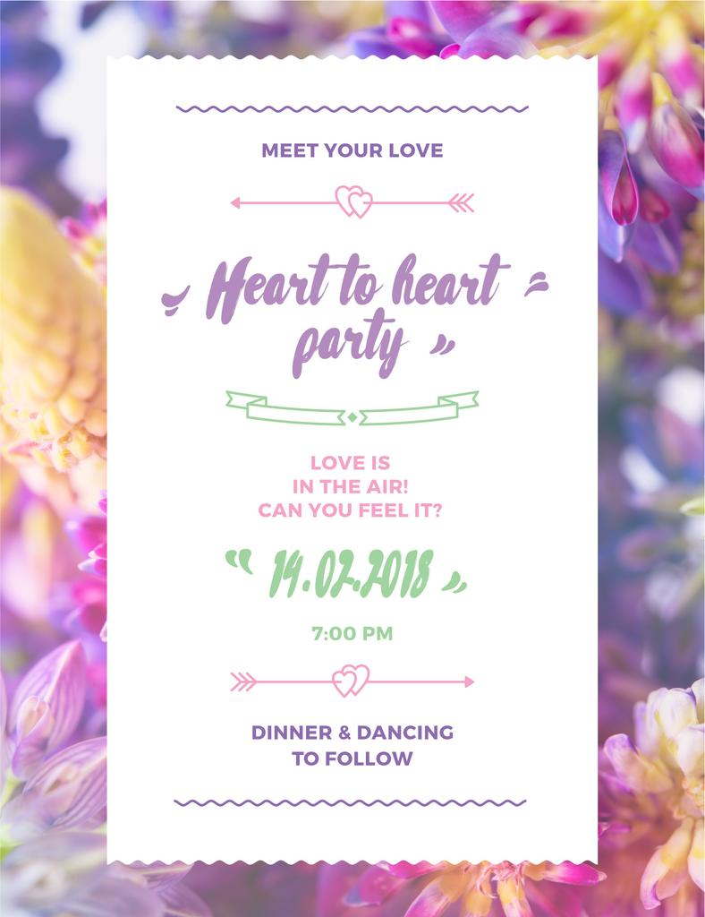Party Invitation Purple Flowers Poster USデザインテンプレート