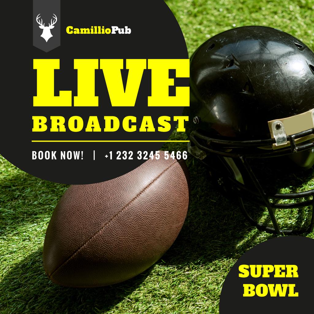 Super Bowl Match Ball and Helmet on Field — Modelo de projeto