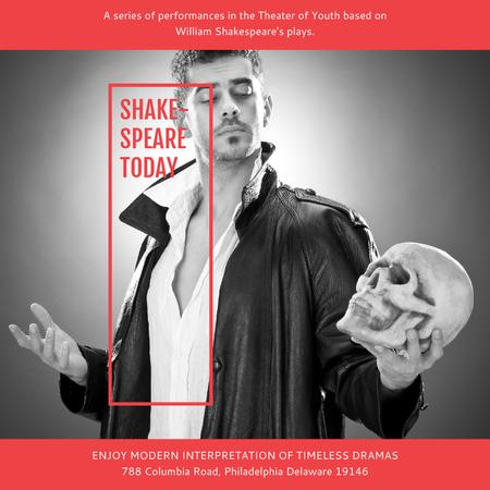 Theater Invitation Actor in Shakespeare's Performance Instagram AD Modelo de Design