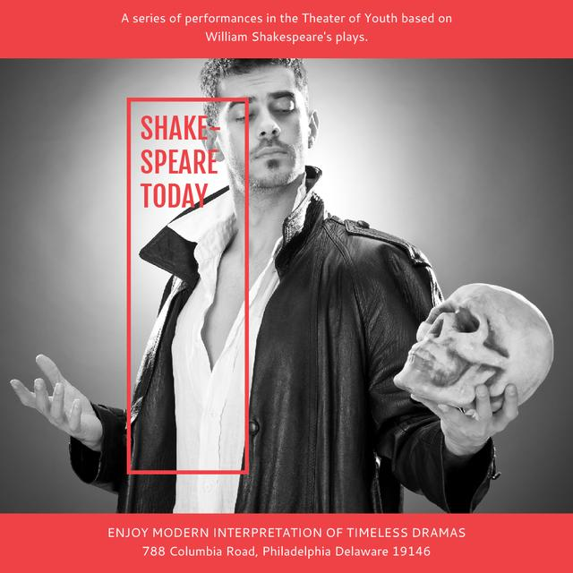 Theater Invitation Actor in Shakespeare's Performance Instagram AD Modelo de Design
