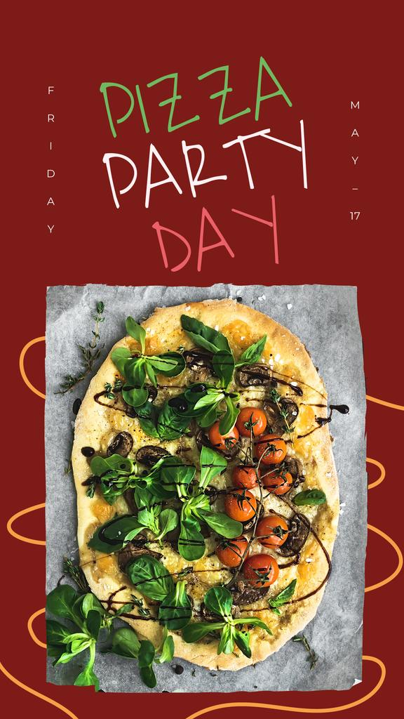 Pizza Party Day on red — Crear un diseño