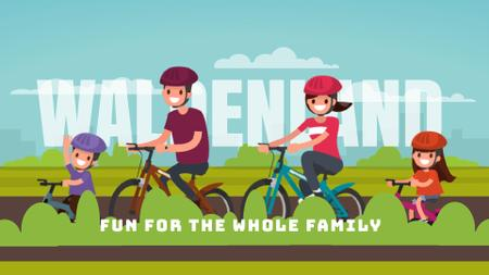 Smiling Family on a Bicycle Ride Full HD video Modelo de Design
