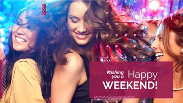 Weekend party poster with dancing girls