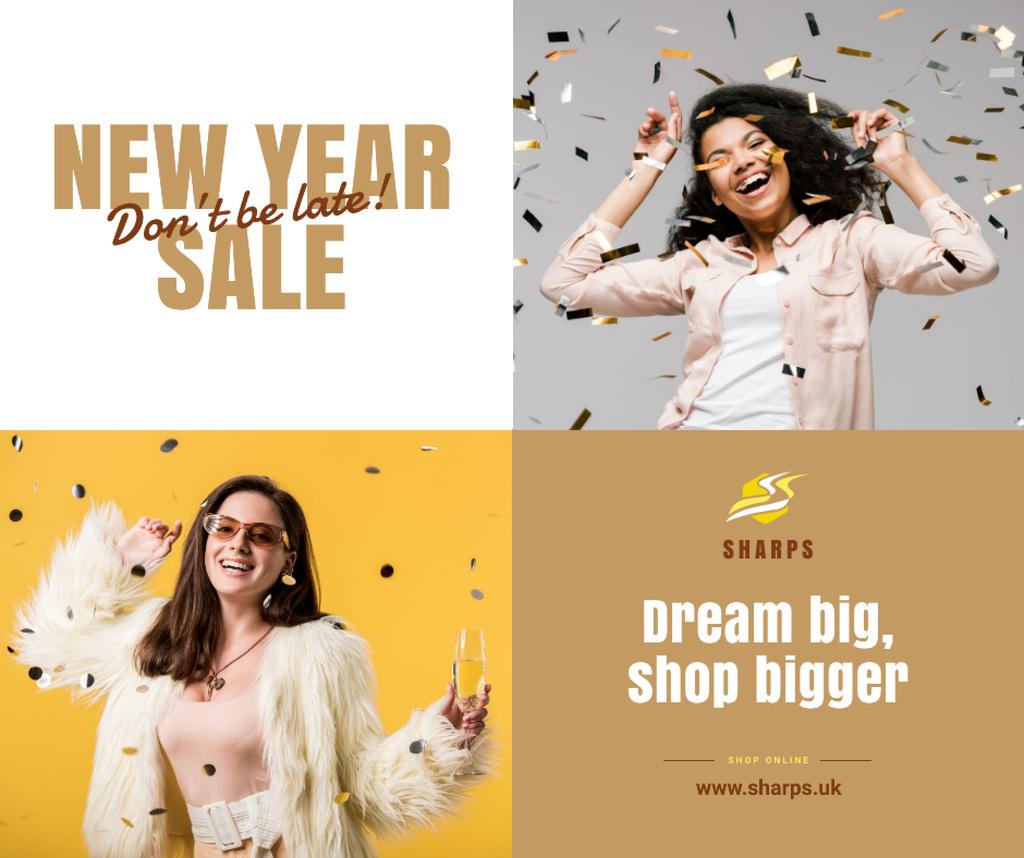 Plantilla de diseño de New Year Sale Girl Under Confetti Facebook