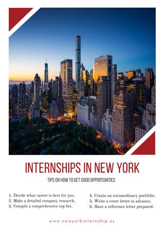 Internships in New York with City view Posterデザインテンプレート