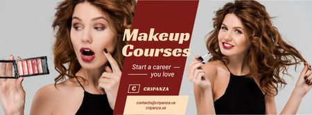 Plantilla de diseño de Beauty Courses Beautician Applying Makeup Facebook cover