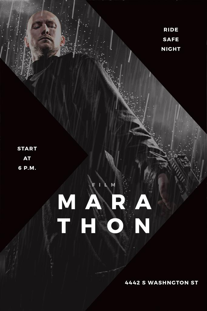 Film Marathon Ad Man with Gun under Rain — Create a Design